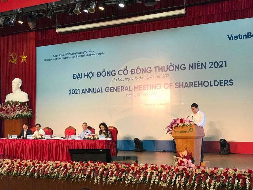 Ông Lê Đức Thọ, Chủ tịch VietinBank phát biểu tại Đại hội