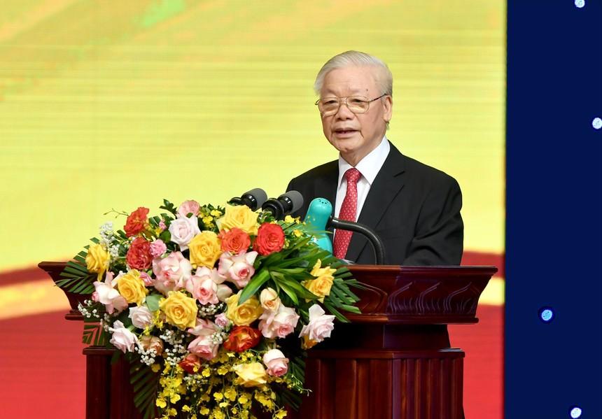 Tổng Bí thư Ban chấp hành Trung ương Đảng cộng sản Việt Nam Nguyễn Phú Trọng phát biểu chỉ đạo tại Lễ mít tinh kỷ niệm 70 năm thành lập Ngân hàng Việt Nam (06/5/1951 - 06/5/2021)