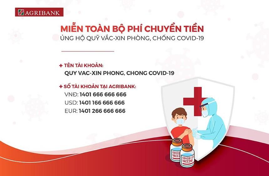 Agribank miễn phí chuyển tiền ủng hộ Quỹ vắc xin phòng, chống Covid-19