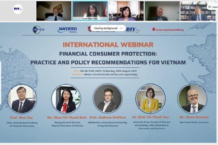 Bảo hiểm tiền gửi Việt Nam đồng tổ chức Hội thảo quốc tế trực tuyến về bảo vệ người tiêu dùng tài chính