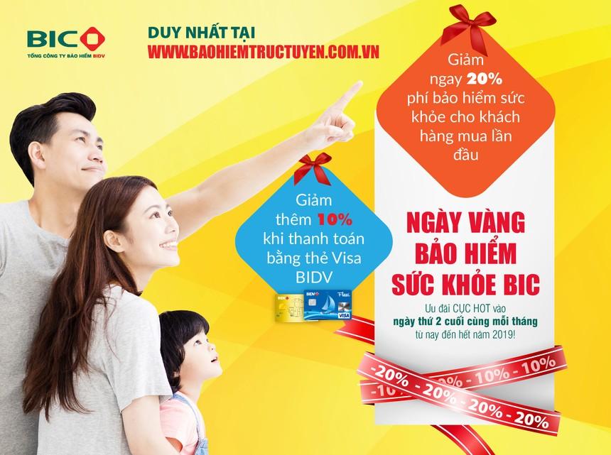 BIC ưu đãi tới 30% phí bảo hiểm sức khỏe cho khách hàng mua trực tuyến
