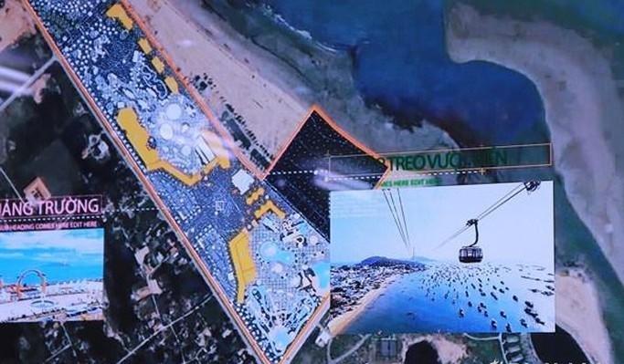 Tuyến cáp treo nối từ đất liền ra đảo Ngư có chiều dài khoảng 3,5 km nằm ở vị trí thứ 3 của dự tháo quy hoach