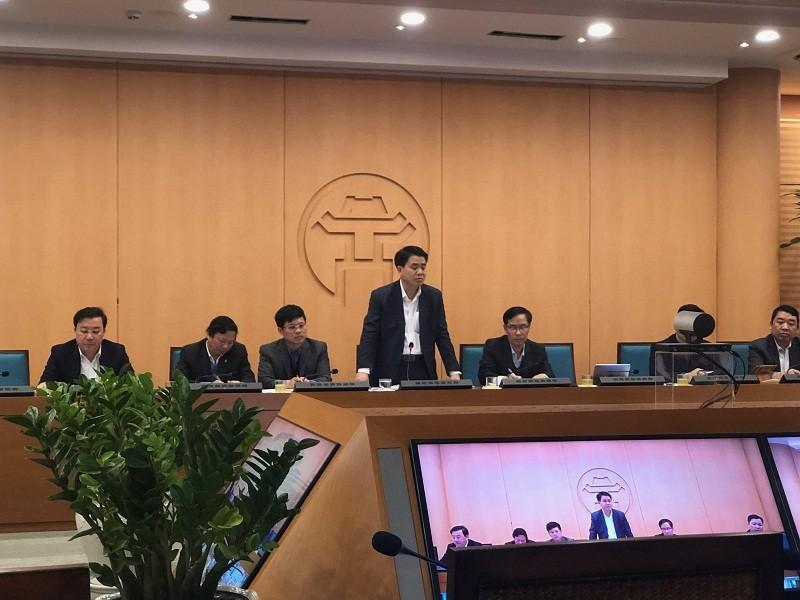 Chủ tịch UBND TP Nguyễn Đức Chung phát biểu tại cuộc họp. Ảnh: T.T