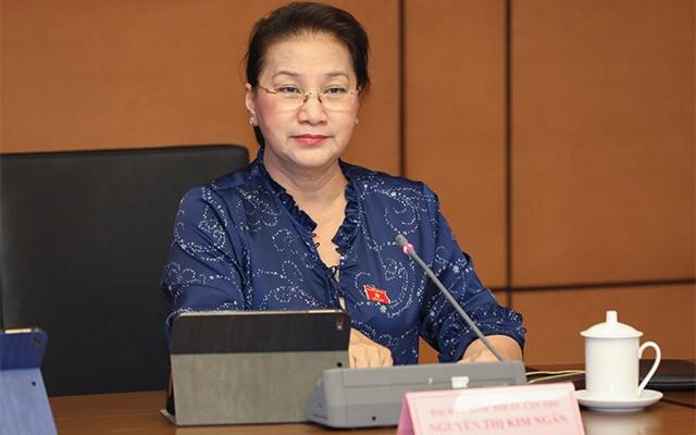 Chủ tịch Quốc hội Nguyễn Thị Kim Ngân phát biểu trong phiên thảo luận chiều 8/6 của Quốc hội - (Ảnh N.Y)