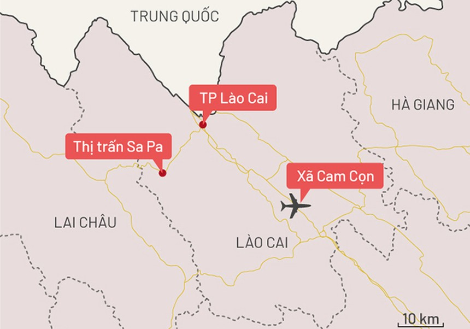 Sân bay Sapa sẽ được đặt tại xã Cam Cọn, huyện Bảo Yên. Đồ họa: Tiến Thành - Vnexpress