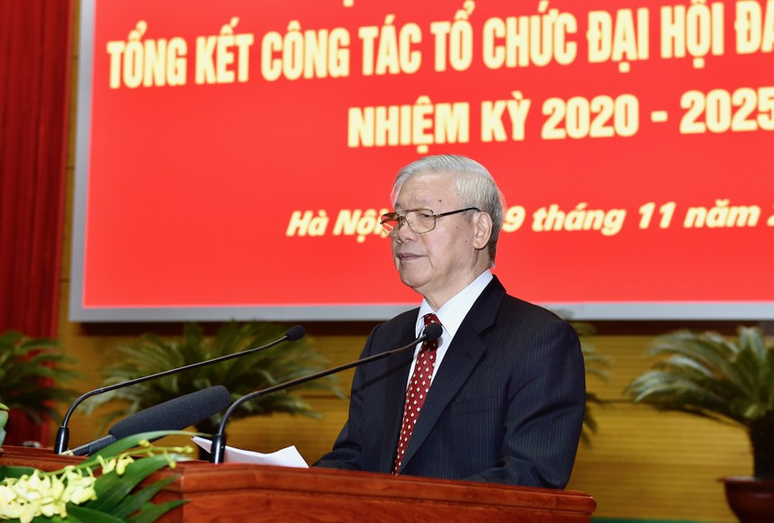 Tổng Bí thư, Chủ tịch nước Nguyễn Phú Trọng phát biểu tại Hội nghị (Ảnh: VGP/Nhật Bắc)