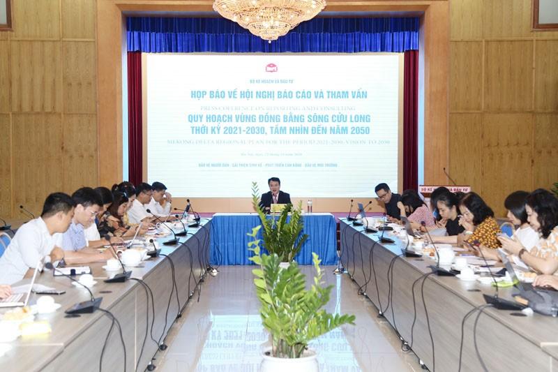 Họp báo về Hội nghị Quy hoạch vùng Đồng bằng sông Cửu Long (Ảnh: Minh Trang)