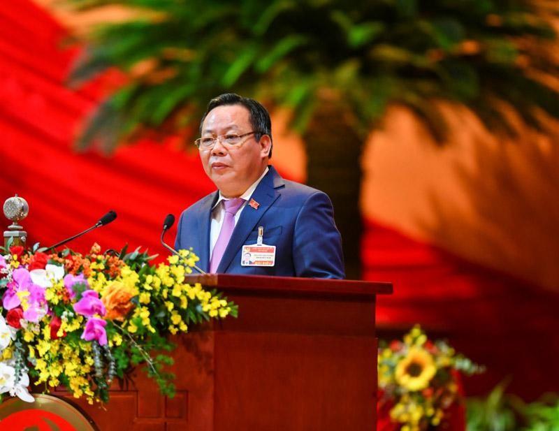 Ông Nguyễn Văn Phong, Phó Bí thư Thành ủy Hà Nội tham luận tại Đại hội XIII (Ảnh QĐ)