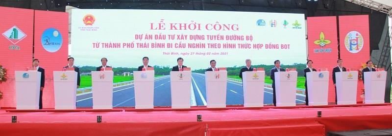 Khởi công Dự án đầu tư xây dựng tuyến đường bộ từ thành phố Thái Bình đi cầu Nghìn