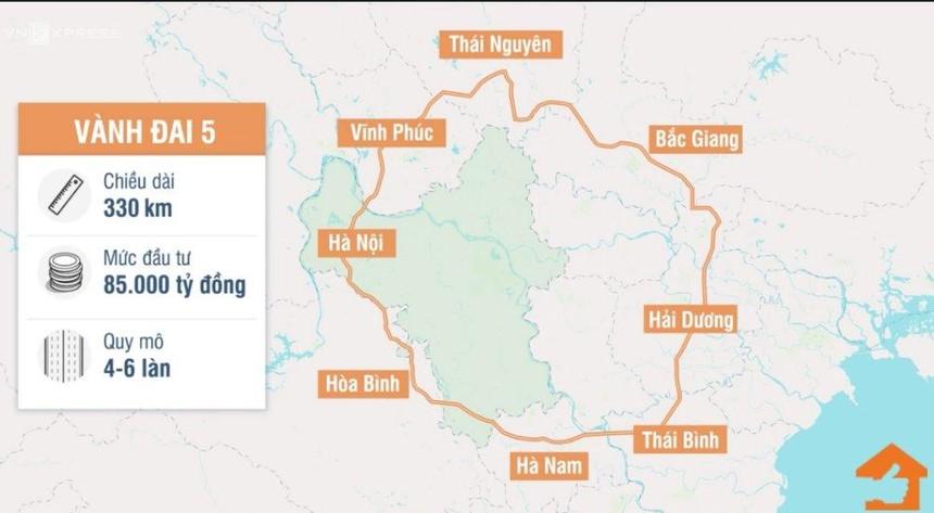 Tuyến đường Vành đai 5 vùng Thủ đô có quy mô 4 - 6 làn xe qua 8 địa phận tỉnh, thành phố