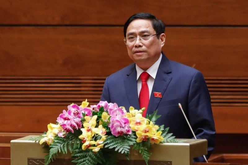 Thủ tướng Phạm Minh Chính trình Quốc hội xem xét phê chuẩn đề nghị miễn nhiệm một số thành viên Chính phủ nhiệm kỳ 2016 - 2021 (Ảnh Duy Linh)
