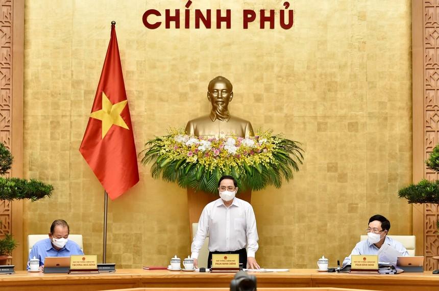 Thủ tướng Phạm Minh Chính chủ trì phiên họp Chính phủ thường kỳ tháng 4/2021 (Ảnh: Nhật Bắc)