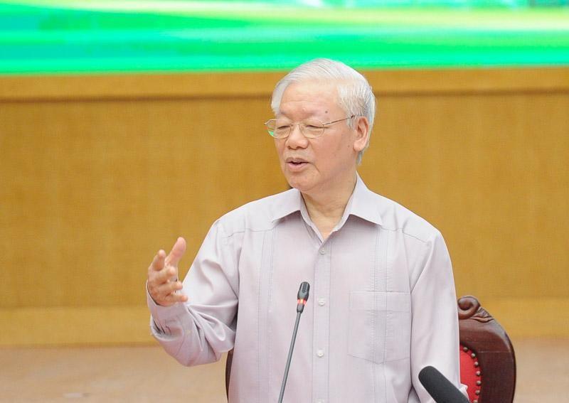 Tổng Bí thư Nguyễn Phú Trọng phát biểu tại cuộc tiếp xúc cử tri Hà Nội (Ảnh Duy Linh).