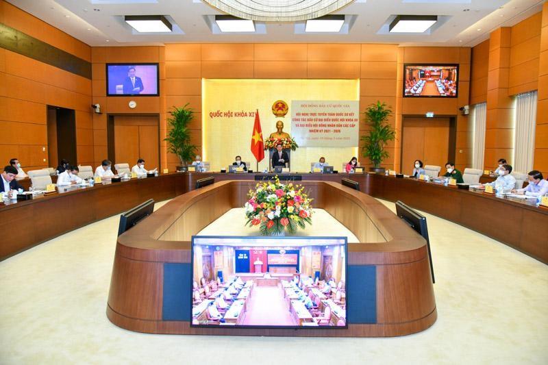 Hội nghị trực tuyến toàn quốc triển khai công tác bầu cử đại biểu Quốc hội khóa XV (Ảnh TTXVN)
