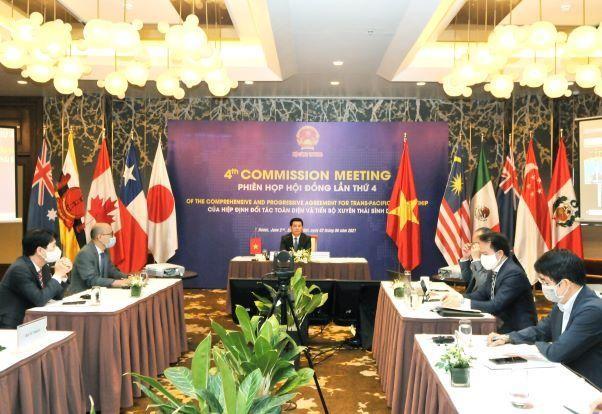Bộ trưởng Bộ Công Thương Nguyễn Hồng Diên cùng đại diện các Bộ, ngành của Việt Nam dự Phiên họp Hội đồng Hiệp định CPTPP lần thứ 4
