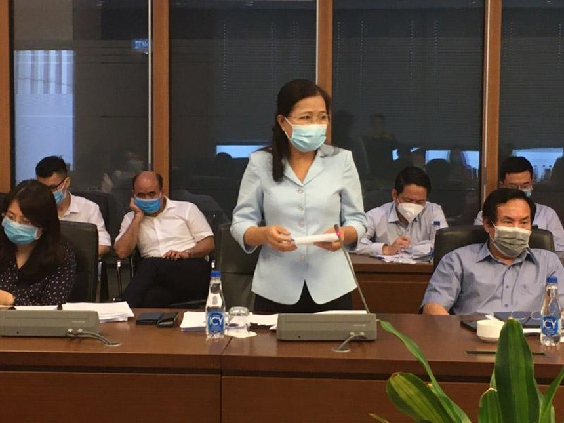 Ủy ban Thường trực Ủy ban Về các vấn đề xã hội, đại biểu Đỗ Thị Lan phát biểu tại cuộc họp (Ảnh - Mỹ An).