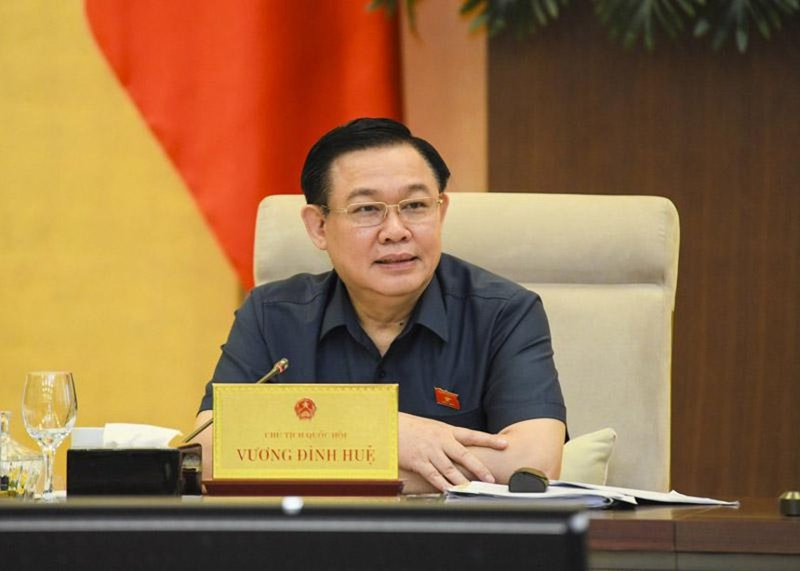 Chủ tịch Quốc hội Vương Đình Huệ phát biểu tại phiên họp 57 của Uỷ ban Thường vụ Quốc hội (Ảnh Duy Linh).