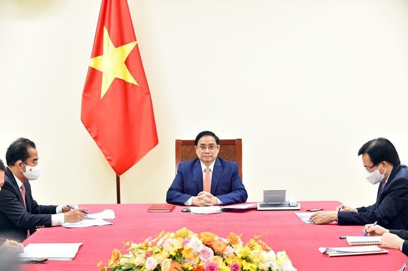 Thủ tướng Phạm Minh Chính điện đàm với Thủ tướng Đức Angela Merkel (Ảnh: BNG)