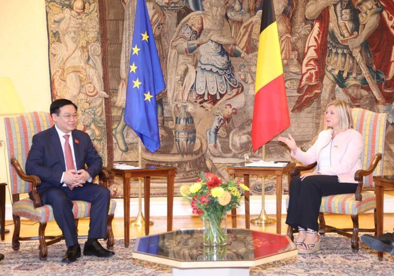 Chủ tịch Quốc hội Vương Đình Huệ hội đàm với Chủ tịch Hạ viện Bỉ Eliane Tillieux (Ảnh - TTXVN)