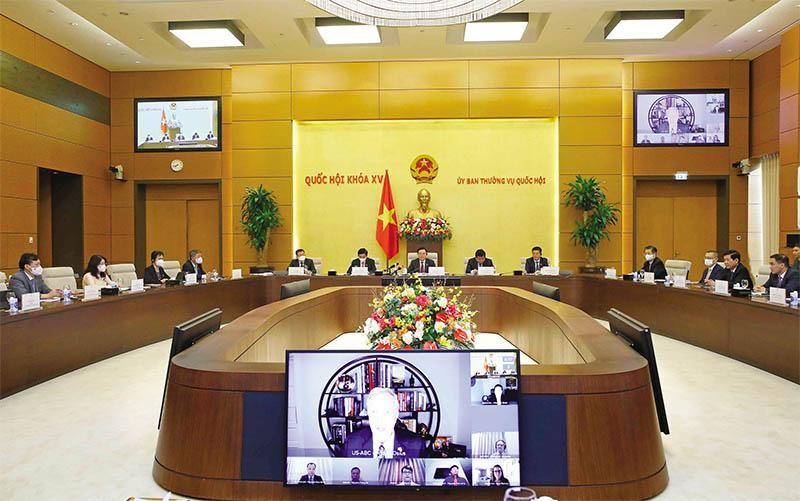 Chủ tịch Quốc hội làm việc trực tuyến với Đoàn Đại biểu cấp cao Hội đồng Kinh doanh Hoa Kỳ - ASEAN.