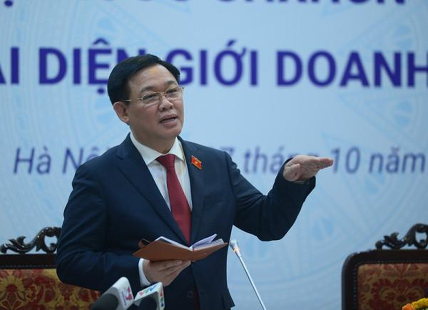 Chủ tịch Quốc hội Vương Đình Huệ trong cuộc làm việc với đại diện cộng đồng doanh nghiệp Việt Nam chiều 7/10/2021.