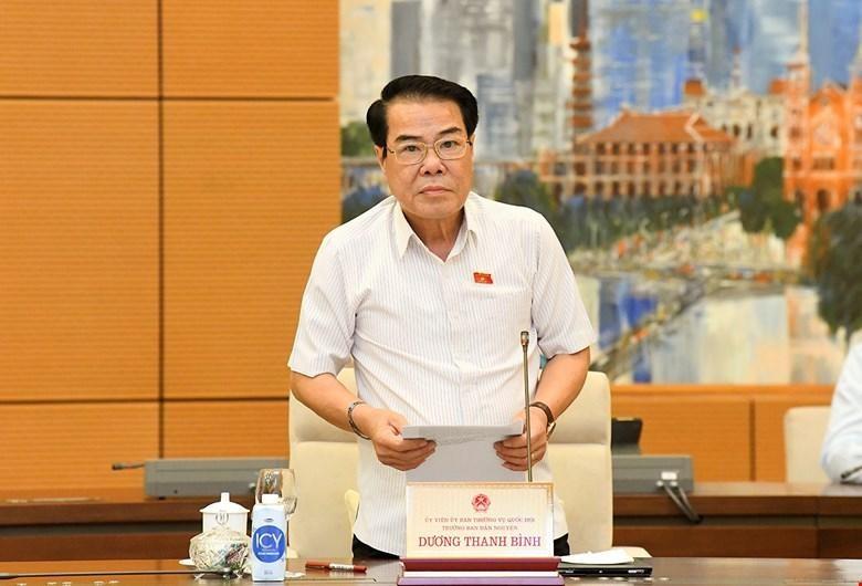 Trưởng ban Dân nguyện Dương Thanh Bình báo cáo tại phiên họp.