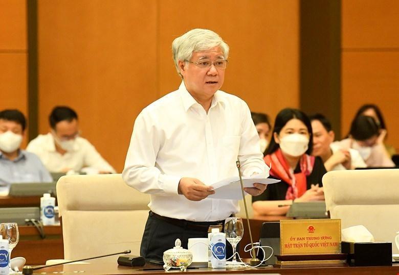 Chủ tịch Ủy ban Trung ương MTTQ Việt Nam Đỗ Văn Chiến báo cáo Uỷ ban Thường vụ Quốc hội sáng 11/10.