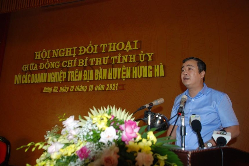 Ủy viên Trung ương Đảng, Bí thư Tỉnh ủy Thái Bình Ngô Đông Hải phát biểu tại Hội nghị đối thoại với doanh nghiệp huyện Hưng Hà nhân Ngày Doanh nhân Việt Nam, 13/10.