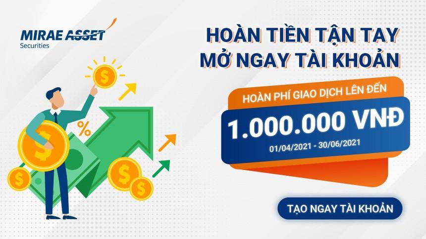 Mirae Asset triển khai chương trình hoàn 100% phí giao dịch lên đến 1 triệu đồng