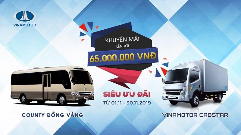 Vinamotor mạnh tay khuyến mại giảm một loạt giá xe tải, xe khách trong tháng 11